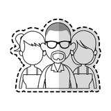 Three people cartoon icon image. Illustration design  sticker Royalty Free Stock Image