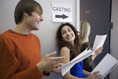 Three People at Casting Call. Three people in line at casting call. Horizontally framed shot Stock Photo