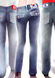 Three people from different countries in jeans Royalty Free Stock Photography