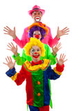 Three people dressed up as colorful funny clown Royalty Free Stock Image