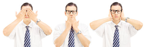 Three people gesticulation with their hands blindness, speechles Stock Photos