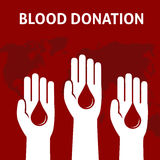 Three People Hand give the blood for donation, Blood Donation Concept. People hand with with blood with world map background Royalty Free Stock Photography
