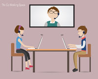 Three people meeting in the co working space Stock Image