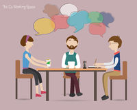 Three people meeting in the co working space Stock Photography
