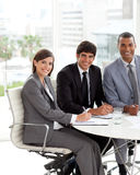 Three people in a meting Stock Image