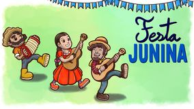 Three people playing instruments in a Festa Junina party. Green watercolor background with flags and text. Hand drawn illustration of three cheerful people Stock Images