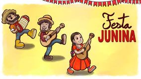 Three people playing instruments in a Festa Junina party. Yellow watercolor background with flags and text. royalty free illustration
