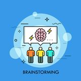 Three people and speech bubble with brain and lightning symbols inside. Concept of brainstorming meeting or session. Collective thinking, idea creation. Vector Royalty Free Stock Images
