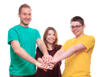 Three people team keeps on with your hands Royalty Free Stock Photos