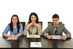 Three people waiting for interview Royalty Free Stock Photos