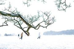 Three people walking on the snow. stock photo