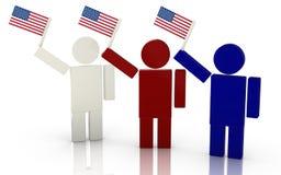 Three people waving the american flag render illustration Stock Image