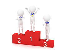 Three people in the winners podium. Second Place. First Place. Third Place Stock Images