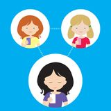 Three people - a woman and two girls are connected via a cellula Stock Image