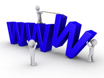 Three people work to set up a website. Three 3d people work in order to set up a website symbolized by three blue W Royalty Free Stock Image