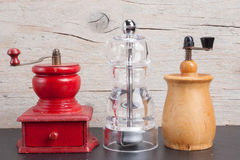 Three pepper mills Royalty Free Stock Photo