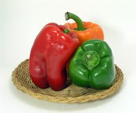 Three Pepper Still Life. Red Green and Orange Pepper Still Life Stock Photos