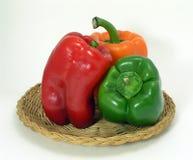 Three Pepper Still Life. Red Green and Orange Pepper Still Life stock photos