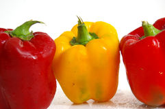 Three peppers. 3 bell peppers royalty free stock images