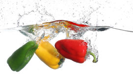 Three peppers falling into water, over white Royalty Free Stock Photo