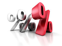 Three Percent Symbols With One Different Red. 3d Render Illustration Royalty Free Stock Photography