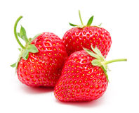 Three perfect red ripe strawberry isolated Royalty Free Stock Photo