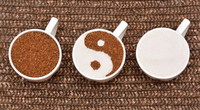 Three perfect white coffee cups with coffe and sugar Royalty Free Stock Photography