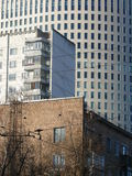 Three periods of modern Moscow architecture. Residential building from 1960s, residential building from 1970s and office/residential building from 2000s, Moscow Royalty Free Stock Photos