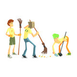 Three Person Collecting Garbage Royalty Free Stock Photos