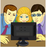 Three person and a computer Royalty Free Stock Image