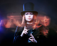 Three persons. The girl with two faces, the second I Royalty Free Stock Image