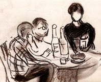 Party. Three persons sit on a table with snack and bottles Stock Image