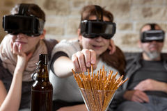 Three persons with vr glasses Stock Photo