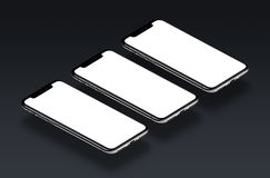 IPhone X. Three perspective view smartphones in a row mockup on black gradient background. IPhone X. Perspective view smartphones mockup. Several isometric Royalty Free Stock Photography