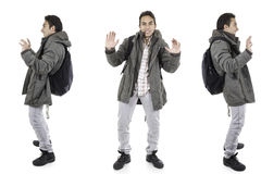 Three perspectives of same man with backpack Stock Images
