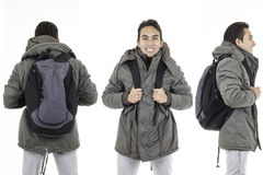Three perspectives of same man with backpack Stock Image