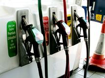 Three Petrol Pumps Royalty Free Stock Photo