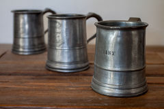 Three Pewter Tankards Stock Image