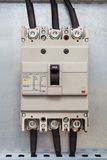 Three phase circuit breaker. In control cubicle, use to protect the circuit from over current Stock Image