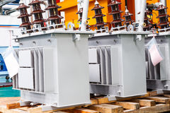 Three phase corrugated fin hermetically sealed type oil immersed. Transformer in production Line Royalty Free Stock Image