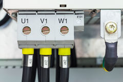 Three phase power connection Stock Image