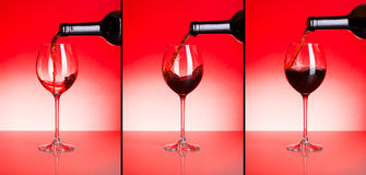 Three phases of pouring red wine Stock Images
