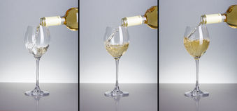 Three phases of pouring white wine Stock Image