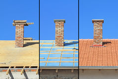 Three phases of a roof construction. Royalty Free Stock Images