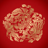 Three Phoenixes around chinese flower elements on classic red ba Stock Photos