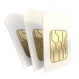 Three phone SIM cards with golden microchips. Group of three phone SIM cards with golden circuit microchips isolated on white background royalty free illustration