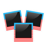 Three photo frame in US national colors  on white Stock Photos