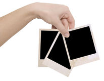 Three photo frames in a hand Stock Photography