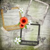 Three photo frames on the old paper Royalty Free Stock Photos
