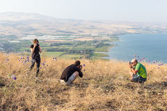 Three photographers taking pictures above Tiberias lake. Stock Photos